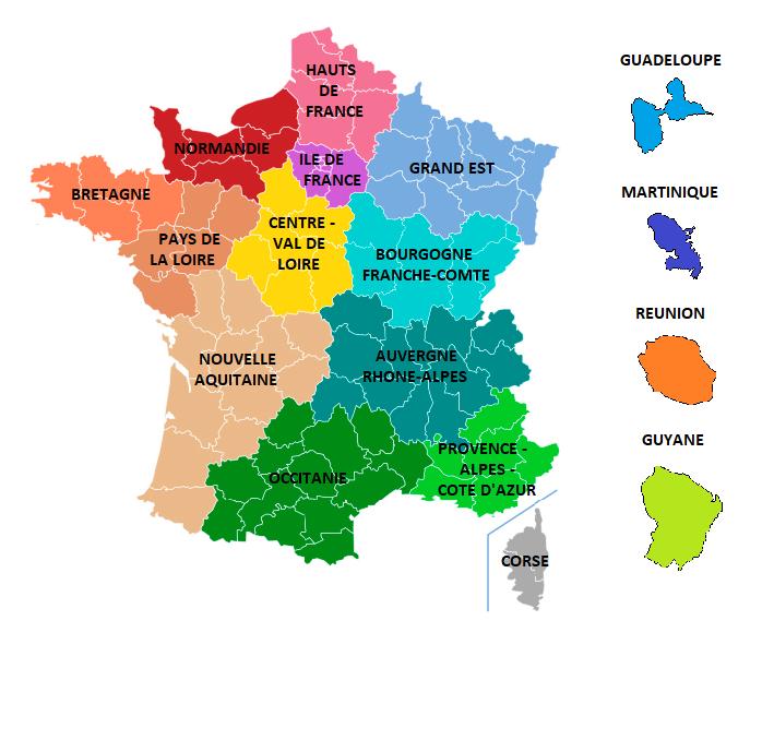 Carte des régions de France au 1er janvier 2016
